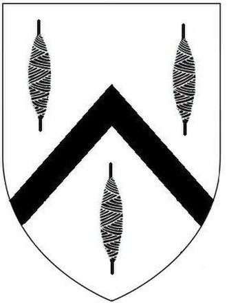 Baron Clinton - Arms of Trefusis: Argent, a chevron between three spindles sable