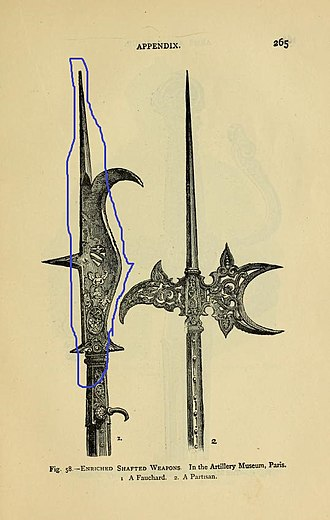 "Fauchard - Weapons in a French museum, illustrating differing name usage between languages. Left: A weapon called a fauchard, resembling a bill. Right: An ornate crescent-bladed halberd labelled ""partisan""."