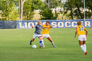 St. Mary's University, Texas - The Rattlers women's soccer team in action against the Texas A&M–Commerce Lions in 2014