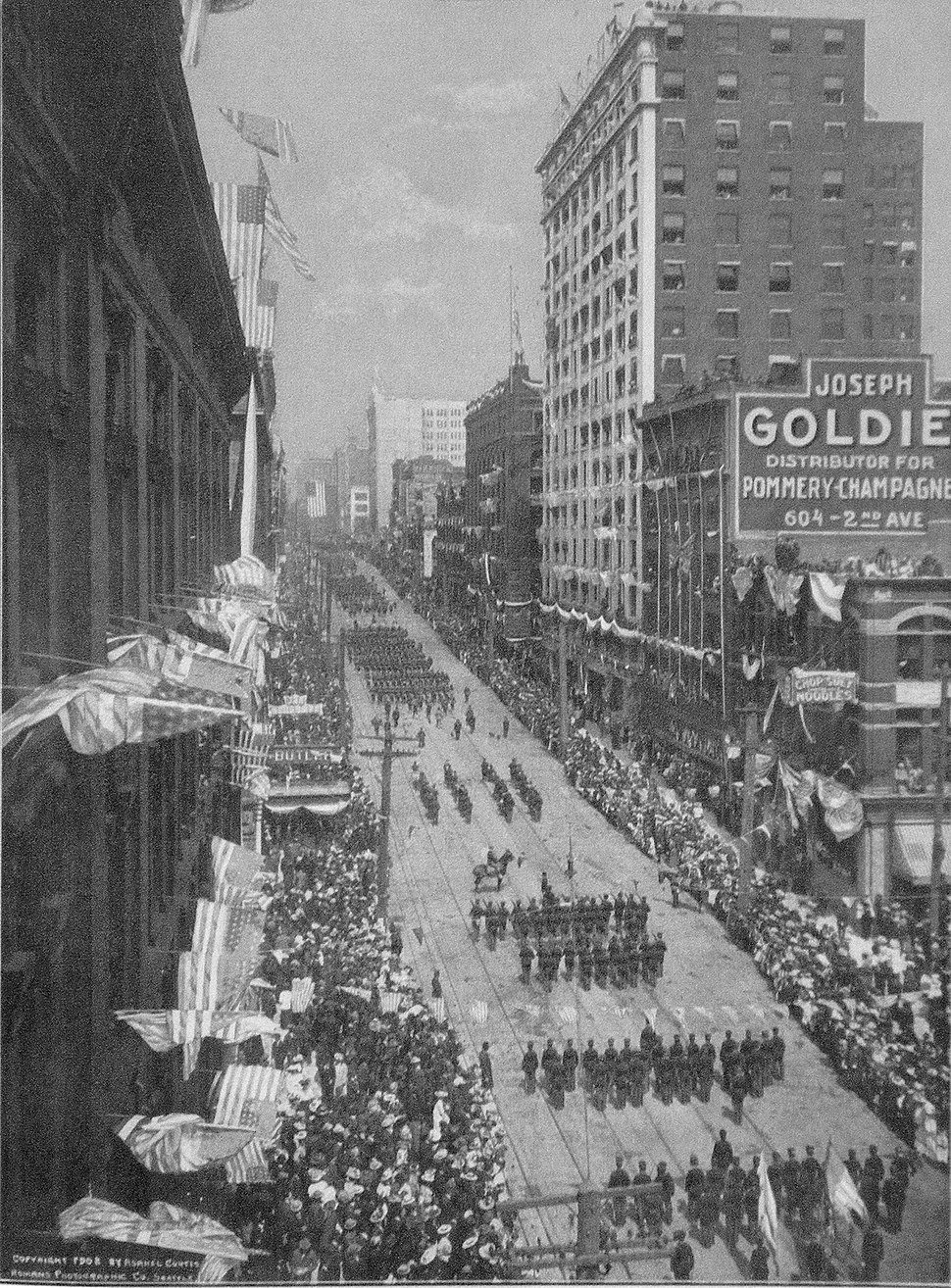 Atlantic Squadron parade Seattle 1908 B%26W