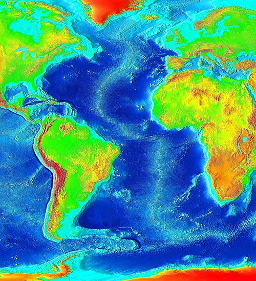 High school earth scienceseafloor spreading wikibooks open figure 69 a modern map of the eastern pacific and atlantic oceans darker blue indicates deeper seas a mid ocean ridge can be seen running through the gumiabroncs Images