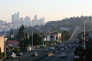 Washington State Route 99 - Aurora Avenue with the George Washington Memorial Bridge and downtown Seattle in the background