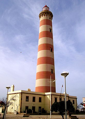Lighthouse of Praia da Barra - A view of the lighthouse from the roadway