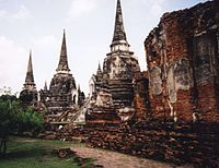 Three pagodas of Wat Phra Si Sanphet which house the remains of King Borommatrailokanat, King Borommarachathirat III and King Ramathibodi II