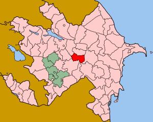 Zardab District - Map of Azerbaijan showing Zardab rayon