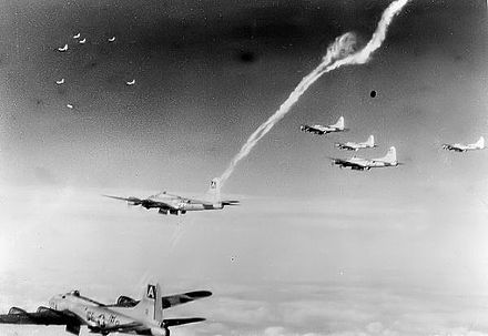 B-17s of the 410th Bomb Squadron on a mission over occupied Europe - Bassingbourn Barracks