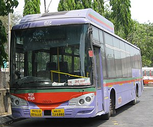 Mulund - A BEST AC Bus at the Mulund Check Naka bus station