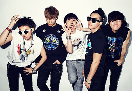 "South Korean band BIGBANG, photo donated by their agency, from their ""Extraordinary 20's"" photoshoot."
