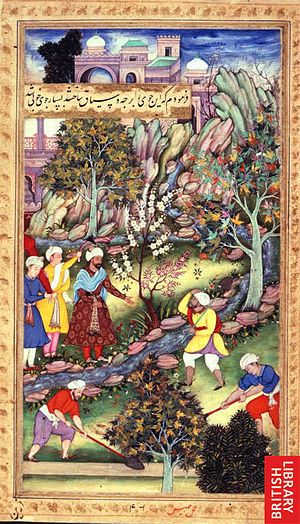 Alcohol in Afghanistan - Babur having the course of the stream being altered at Istalif