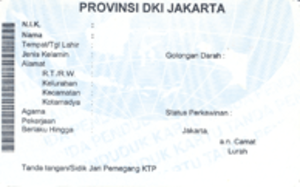 Indonesian identity card - Reverse of Jakarta-issued KTP