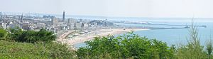 View of the beach of Le Havre and a part of the rebuilt city