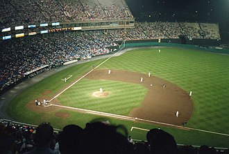 Memorial Stadium (Baltimore) - The Orioles playing one of the last major league home night games at the stadium, September 14, 1991