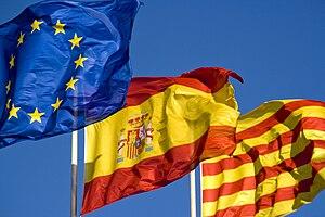 Català: Bandera Nacional, de la Unió Europea, ...