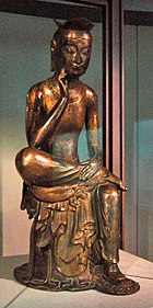 Bangasayusang, semi-seated contemplative Maitreya probably from Silla circa early 7th century.