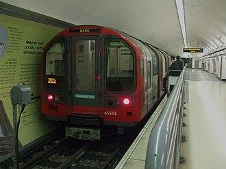 London Underground 1992 Stock - Image: Bank station Waterloo & City line train