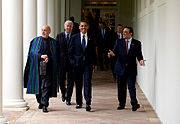 Barack Obama, Hamid Karzai & Asif Ali Zardari after trilateral meeting 5-6-09 1