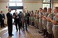 Barack Obama, former President George H. W. Bush and Robert Gates greet Marine Corps cadets, 2009.jpg