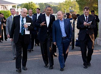 Obama at a bilateral meeting with Putin during the G8 summit in Ireland, June 17, 2013. Barack Obama and Vladimir Putin walking in Ireland.jpg