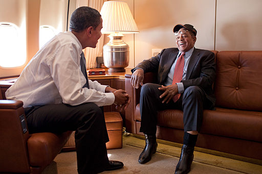 Barack Obama and Willie Mays in Air Force One 2009-07-14