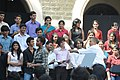 Barack Obama and the First Lady Mrs. Michelle Obama interacting with the students from various colleges on issues ranging from those on Mahatma Gandhi to US foreign and economic policy, at St. Xavier College, in Mumbai.jpg