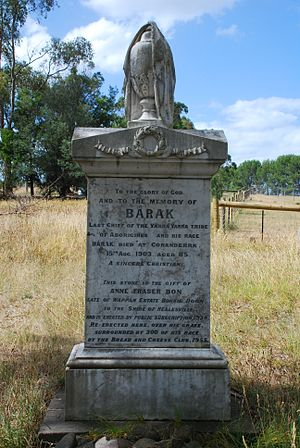 William Barak - Barak's grave and headstone at Coranderrk cemetery