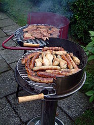 Various foods being barbecued