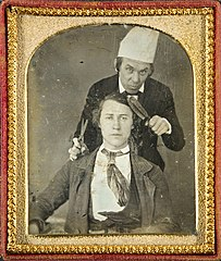 Barber and his client by William Knapp, c1850.jpg