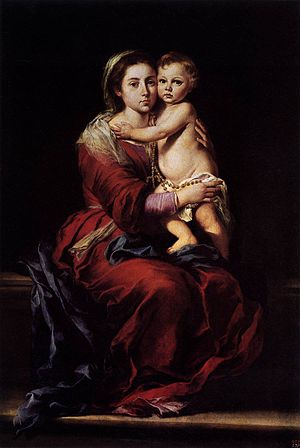 Patrick Peyton - Father Patrick Peyton hosted a number of televised shows abroad promoting the Rosary, where an image of Bartolomé Esteban Murillo's painting of the Our Lady of the Rosary was always present in the background. Oil on canvas. Museo del Prado, Spain.