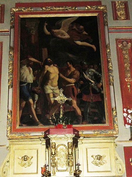 Bassussarry, Église Saint-Barthélemy, autel avec tabernacle et tableau crucifixion