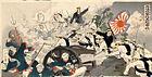 Darstellung der Schlacht von Pjöngjang von 1894 (Farbholzschnitt von Mizuno Toshikata)