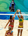 Beach volley at the Beijing Olympics - USA v. Brazil.jpg