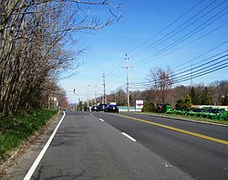 Looking north along Route 34 on Beacon Hill