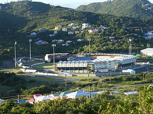 Saint Lucia - Cricket is a popular sport in the country. Seen here is the Daren Sammy Cricket Ground which hosts international cricket matches for the West Indies.