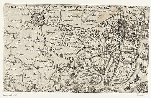 Beleg van Sluis door het Staatse leger onder Maurits, 1604 Abriss der Gelegenheit det Statt Schleus (titel op object), RP-P-OB-80.668