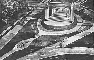 Bell Memorial - An early concept drawing of the memorial and the Alexander Graham Bell Gardens, c.1909.