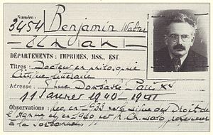 Walter Benjamin - Walter Benjamin's membership card for the Bibliothèque nationale de France (1940).