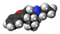 Benzofuranylpropylaminopentane molecule spacefill.png