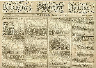 Berrow's Worcester Journal - Front page of Berrow's Worcester Journal dated 7 January 1779.