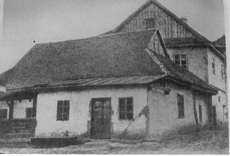 Baal Shem Tov - Exterior of the Baal Shem Tov's synagogue in Medzhybizh, circa 1915. This shul no longer exists, having been destroyed by the Nazis. However, an exact replica was erected on its original site as a museum.