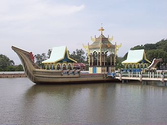 Bandar Seri Begawan - The Ceremonial Ship beside the Sultan Omar Ali Saifuddin Mosque