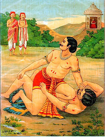 Bhima and Jarasandh Wrestling.jpg