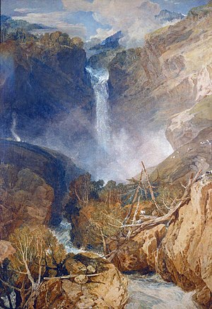 The Higgins Art Gallery & Museum - Turner's 1804 watercolour of the Reichenbach Falls, part of the gallery collection