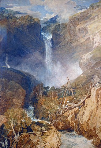 The Higgins Art Gallery & Museum - Turner's 1804 watercolour of the Reichenbach Falls, part of the gallery collection.