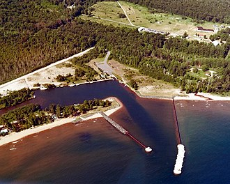 Big Bay, Michigan - Aerial view of the harbor at Big Bay