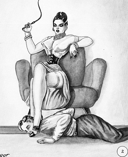 Foot worship of one of the feet of a dominatrix by a submissive man. Her other foot rests over the man's head, using it as a footstool (human furniture). This sketch is from a 1950 work named Bizarre Honeymoon. Bizarre Honeymoon 02.jpg