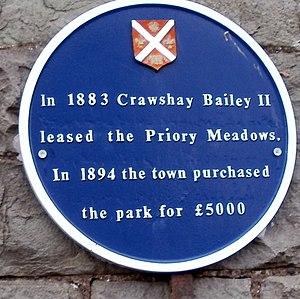 Crawshay Bailey, Junior - Blue plaque commemorating Crawshay Bailey Junior's establishment of Bailey Park, Abergavenny.