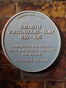 Blue plaque for Elizabeth Clarke Wolstenholme Elmy at Buxton House.