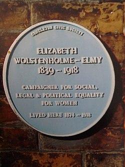 Blue plaque to elizabeth wolstenholme elmy