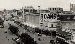 Boans - The Boans Building in Wellington St, shown here in 1936, was built in 1912 and demolished in 1987. Padbury Buildings and Forrest Place just visible in lower and mid right portion of picture