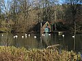 Boat house and waterfowl at Fyvie Castle - geograph.org.uk - 691632.jpg